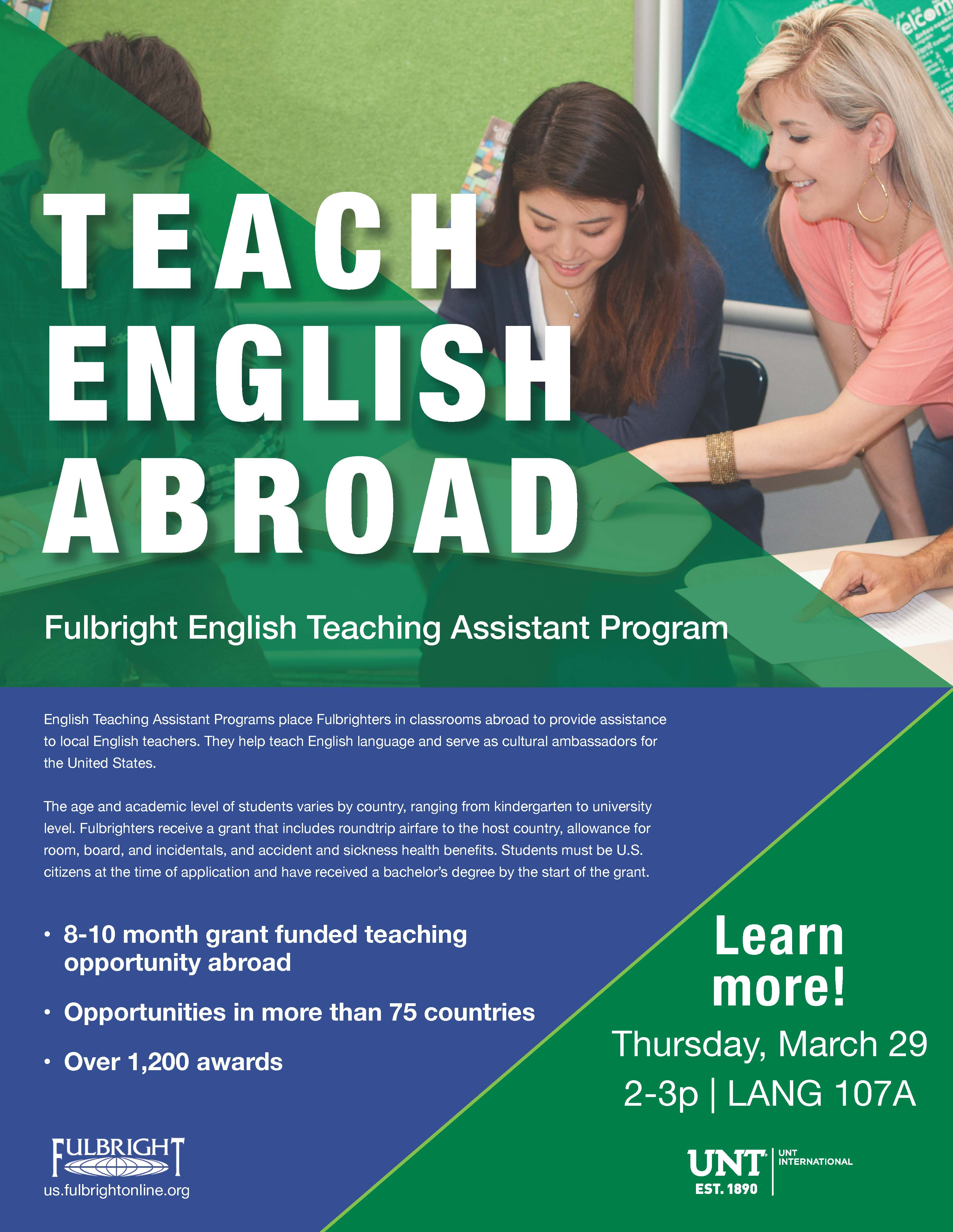 Unt Financial Aid >> Fullbright info session come learn about teaching abroad! | World Languages, Literatures, & Cultures